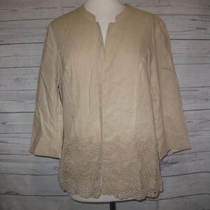Coldwater Creek Linen Blend Open Front Jacket 10